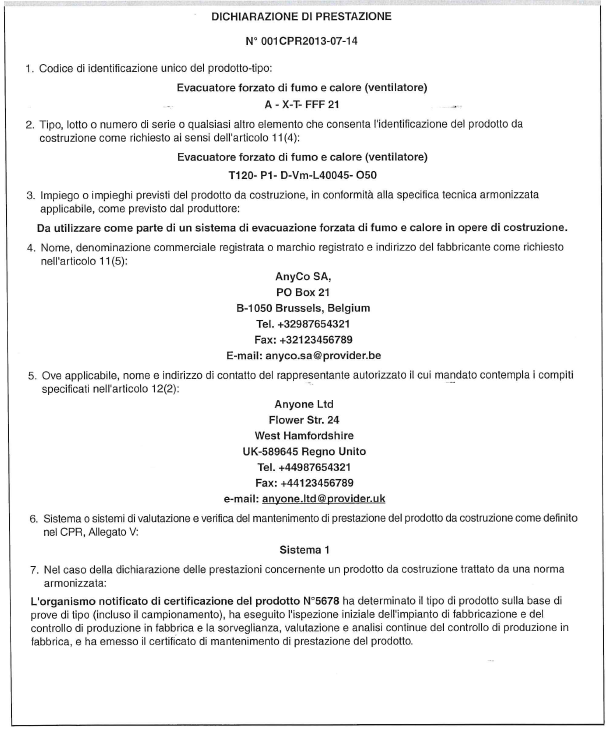 dichiarazione di prestazione dop ventilatori 12101 3